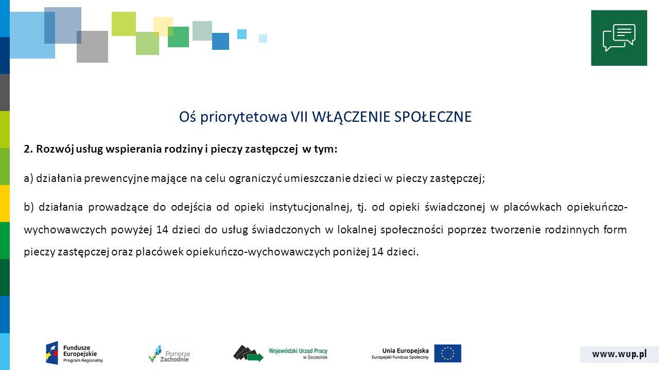 www.wup.pl Oś priorytetowa VII WŁĄCZENIE SPOŁECZNE 2.