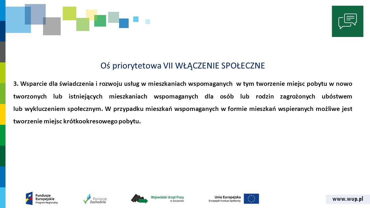 www.wup.pl Oś priorytetowa VII WŁĄCZENIE SPOŁECZNE 3.