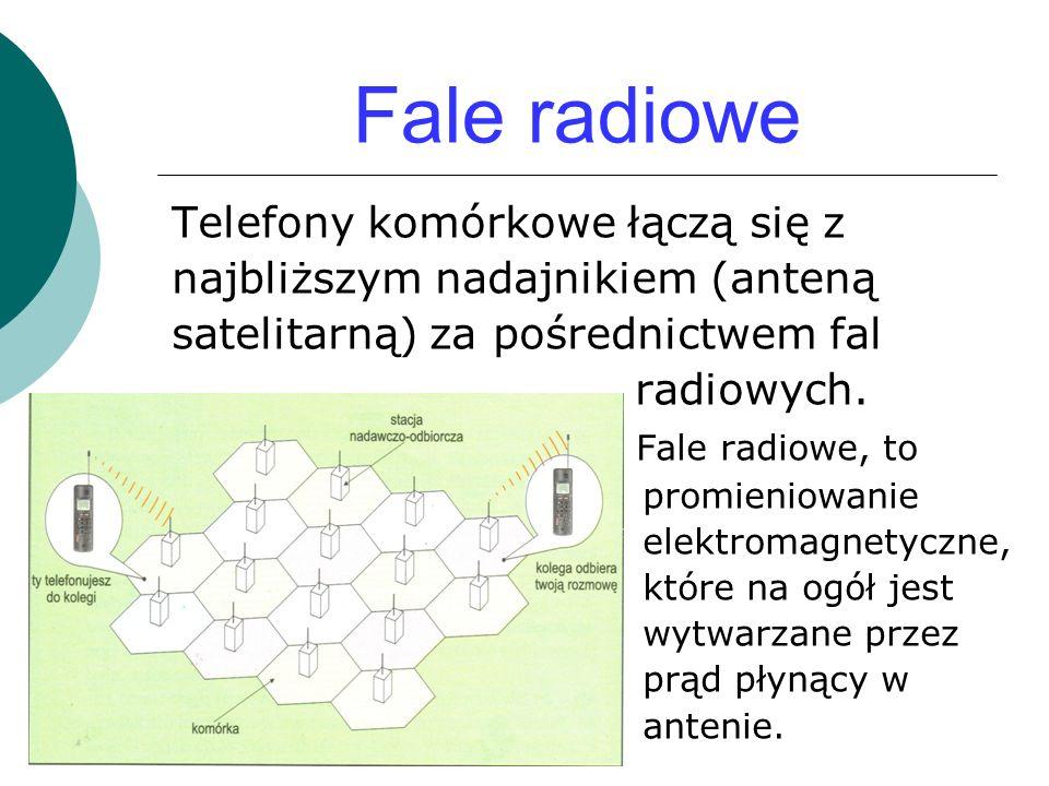 Fale radiowe Telefony komórkowe łączą się z najbliższym nadajnikiem (anteną satelitarną) za pośrednictwem fal radiowych.