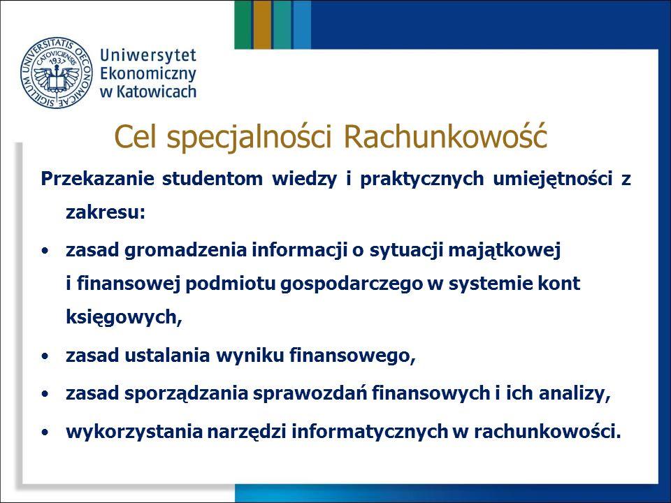 Studiowanie na specjalności Rachunkowość umożliwia zdobycie wiedzy i umiejętności pozwalających na: prowadzenie rachunkowości w podmiocie gospodarczym oraz w biurach rachunkowych, centrach usług finansowych, przy wykorzystaniu odpowiednich narzędzi informatycznych, sporządzanie sprawozdań finansowych w oparciu o krajowe i międzynarodowe regulacje prawne (standardy), analizę sytuacji majątkowej i finansowej podmiotu dla różnorodnego kręgu odbiorców.