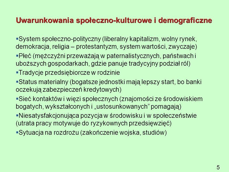 5 Uwarunkowania społeczno-kulturowe i demograficzne  System społeczno-polityczny (liberalny kapitalizm, wolny rynek, demokracja, religia – protestant