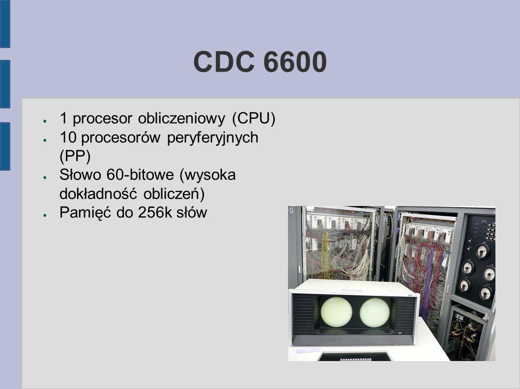 CDC 6600 ● 1 procesor obliczeniowy (CPU) ● 10 procesorów peryferyjnych (PP) ● Słowo 60-bitowe (wysoka dokładność obliczeń) ● Pamięć do 256k słów