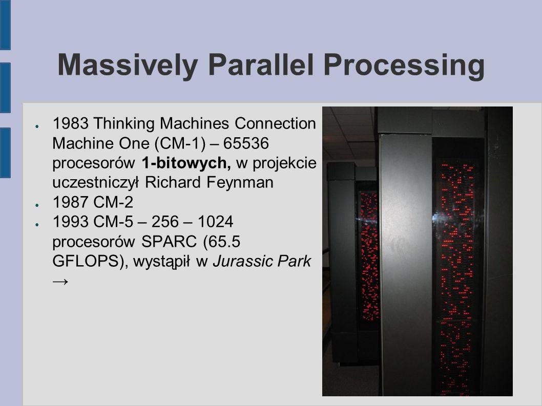 Massively Parallel Processing ● 1983 Thinking Machines Connection Machine One (CM-1) – 65536 procesorów 1-bitowych, w projekcie uczestniczył Richard Feynman ● 1987 CM-2 ● 1993 CM-5 – 256 – 1024 procesorów SPARC (65.5 GFLOPS), wystąpił w Jurassic Park →