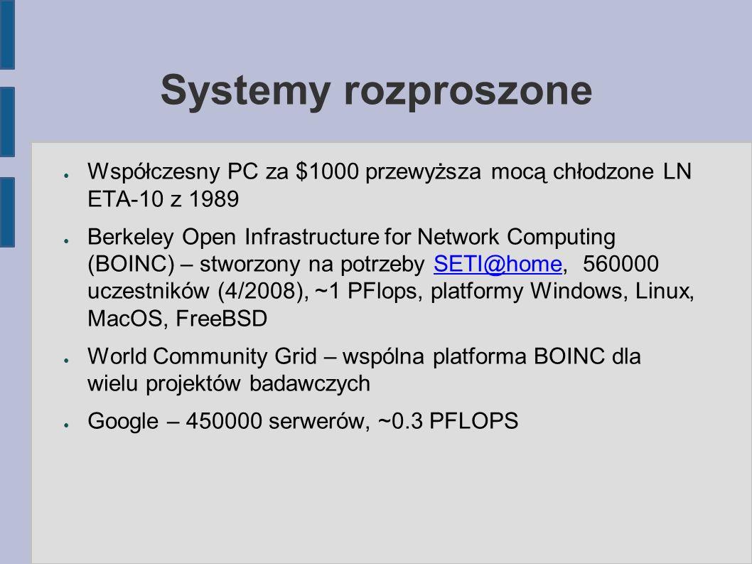 Systemy rozproszone ● Współczesny PC za $1000 przewyższa mocą chłodzone LN ETA-10 z 1989 ● Berkeley Open Infrastructure for Network Computing (BOINC) – stworzony na potrzeby SETI@home, 560000 uczestników (4/2008), ~1 PFlops, platformy Windows, Linux, MacOS, FreeBSDSETI@home ● World Community Grid – wspólna platforma BOINC dla wielu projektów badawczych ● Google – 450000 serwerów, ~0.3 PFLOPS