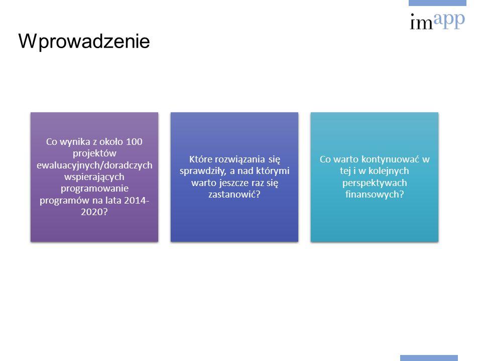 Wprowadzenie Co wynika z około 100 projektów ewaluacyjnych/doradczych wspierających programowanie programów na lata 2014- 2020.