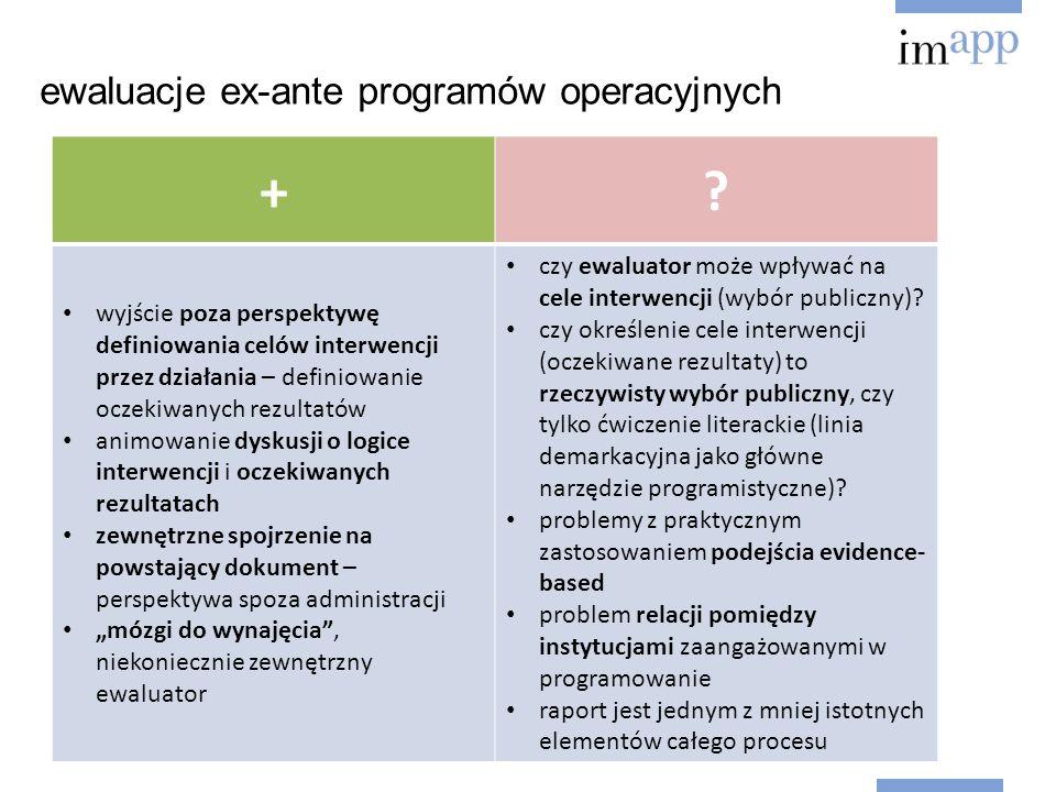 ewaluacje ex-ante programów operacyjnych +.