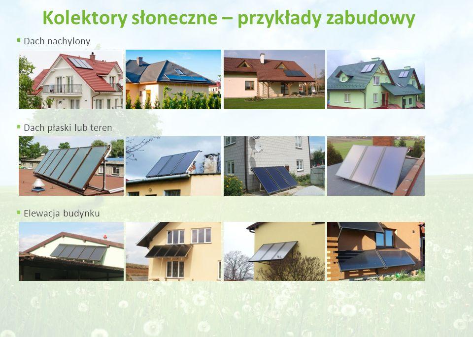 Kolektory słoneczne – przykłady zabudowy  Dach nachylony  Dach płaski lub teren  Elewacja budynku
