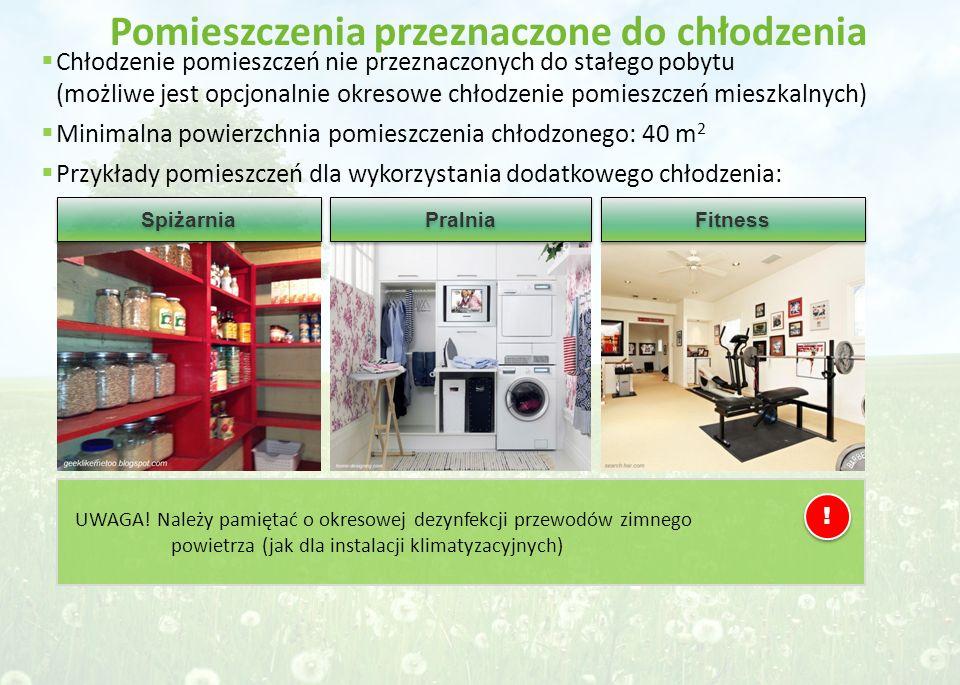 Pomieszczenia przeznaczone do chłodzenia Spiżarnia Pralnia Fitness  Chłodzenie pomieszczeń nie przeznaczonych do stałego pobytu (możliwe jest opcjona
