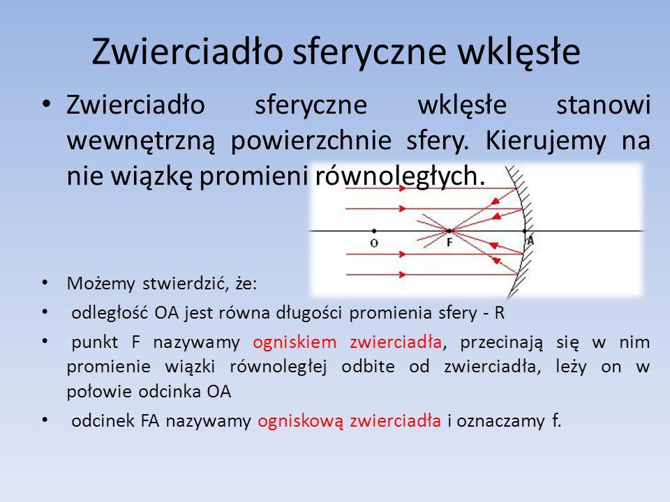 Zwierciadło sferyczne wklęsłe stanowi wewnętrzną powierzchnie sfery.