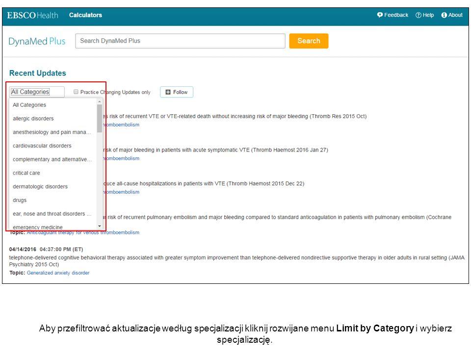 Aby przefiltrować aktualizacje według specjalizacji kliknij rozwijane menu Limit by Category i wybierz specjalizację.