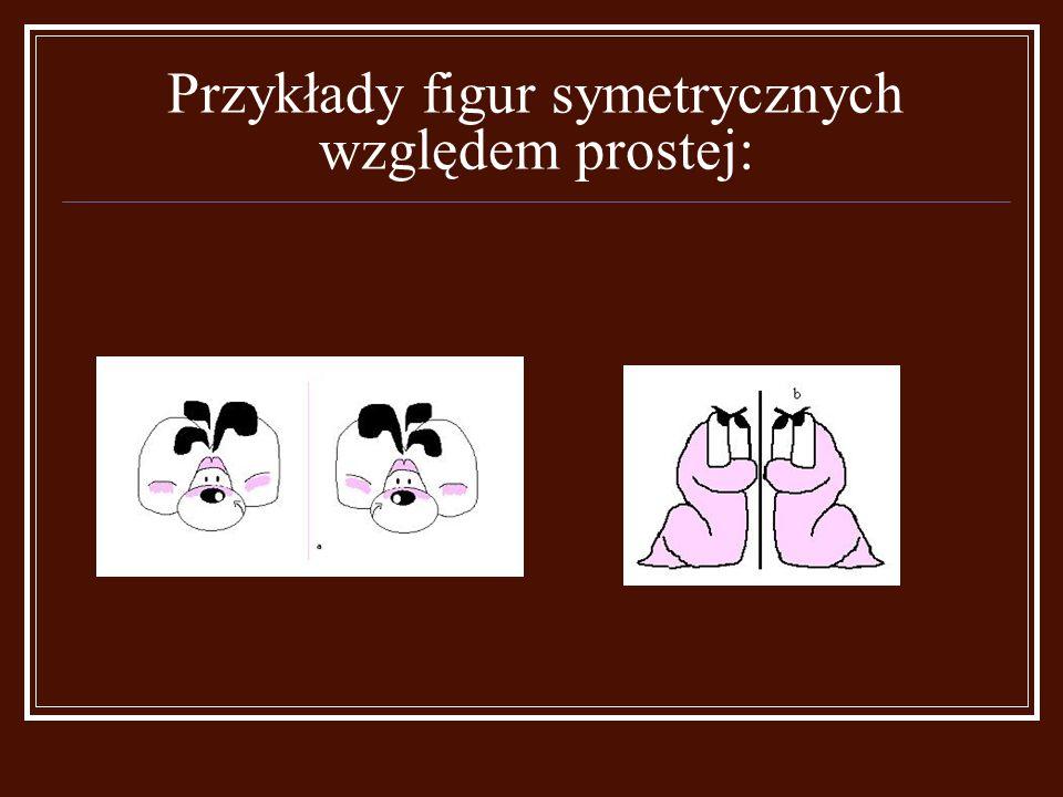 Punkty symetryczne względem prostej a spełniają następujące warunki:  Jeżeli punkt leży na prostej a jest symetryczny sam do siebie (pkt C);  Punkt i jego obraz leżą po przeciwnych stronach prostej a (pkt B i B' oraz pkt A i A');  Odcinek łączący punkt i jego obraz jest prostopadły do prostej a (B i B');  Odległość punktu od prostej a jest równa odległości jego obrazu od tej prostej ( |BK| = |B'K| )