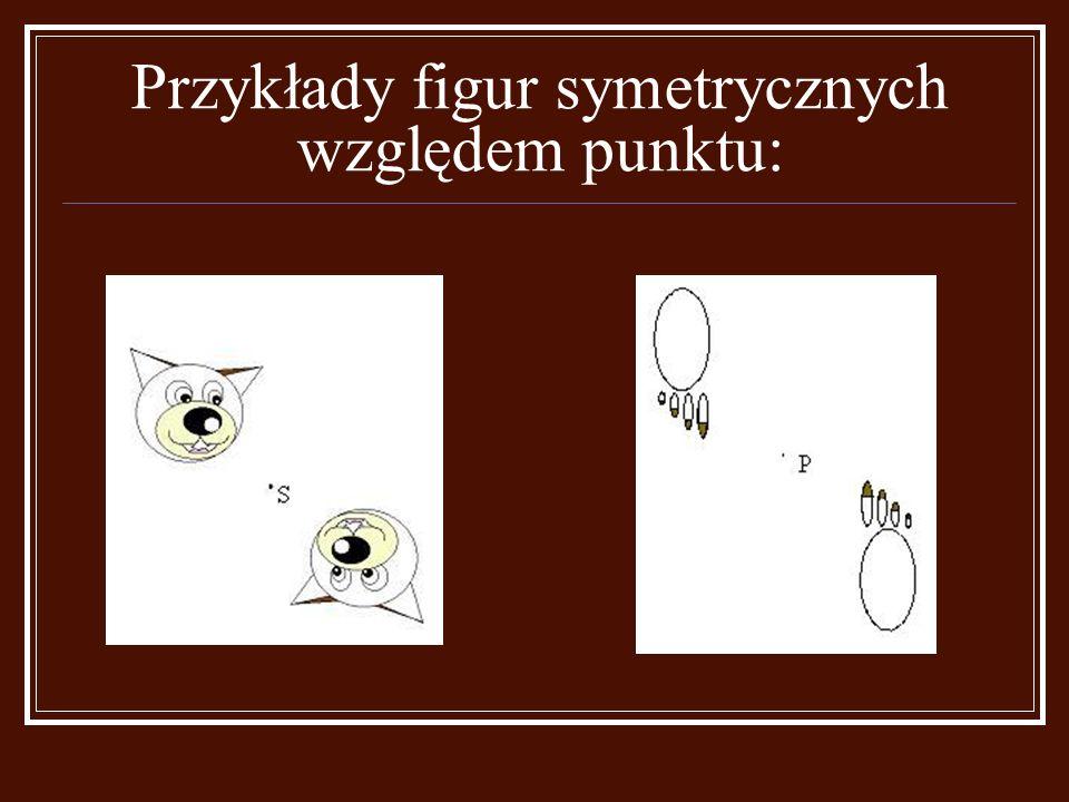 Punkty symetryczne względem punktu S spełniają następujące warunki: jeżeli punkt pokrywa się ze środkiem symetrii to pokrywa się ze swoim obrazem ( S ); punkt i jego obraz leżą na prostej przechodzącej przez punkt S ( prosta AA'); punkt i jego obraz leżą po przeciwnych stronach punktu S; punkt i jego obraz są jednakowo oddalone od punktu S (|BS| = |B'S|).