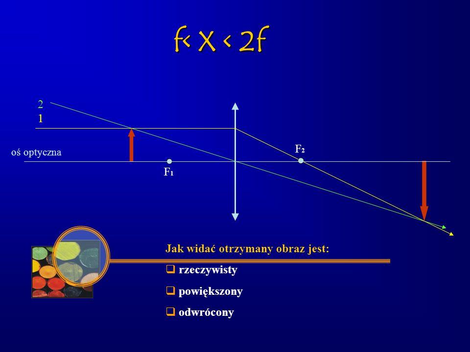 oś optyczna F1F1 F2F2 2 1 Jak widać otrzymany obraz jest:  rzeczywisty  powiększony  odwrócony f< X < 2f