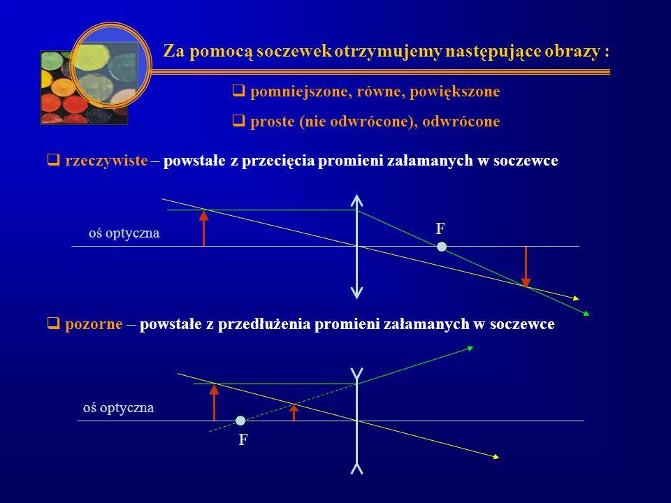  odległość przedmiotu od soczewki - x  odległość obrazu od soczewki - y  wysokość przedmiotu - h  wysokość obrazu - h'  powiększenie, stosunek liniowych wymiarów obrazu do wymiarów przedmiotu - p Dla danej soczewki wielkość obrazu i jego odległość od soczewki zależy od położenia przedmiotu względem soczewki h' p = = hx y ff F2F2 oś optyczna F1F1 xy h' h Przy opisie obrazów otrzymywanych w soczewkach stosujemy oznaczenia :