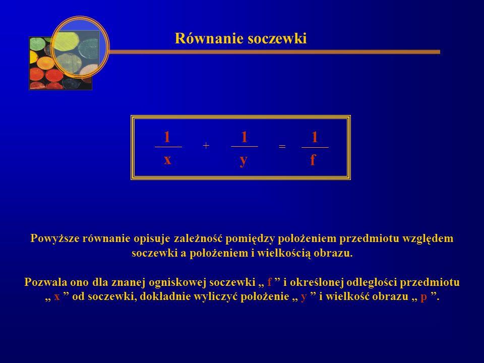 Równanie soczewki 1 x y 1 + = 1 f Powyższe równanie opisuje zależność pomiędzy położeniem przedmiotu względem soczewki a położeniem i wielkością obraz