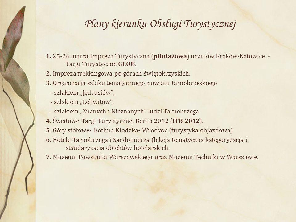 Plany kierunku Obsługi Turystycznej 1. 25-26 marca Impreza Turystyczna (pilotażowa) uczniów Kraków-Katowice - Targi Turystyczne GLOB. 2. Impreza trekk