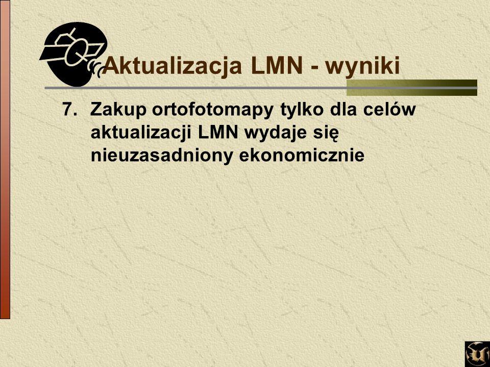 Aktualizacja LMN - wyniki 7.Zakup ortofotomapy tylko dla celów aktualizacji LMN wydaje się nieuzasadniony ekonomicznie