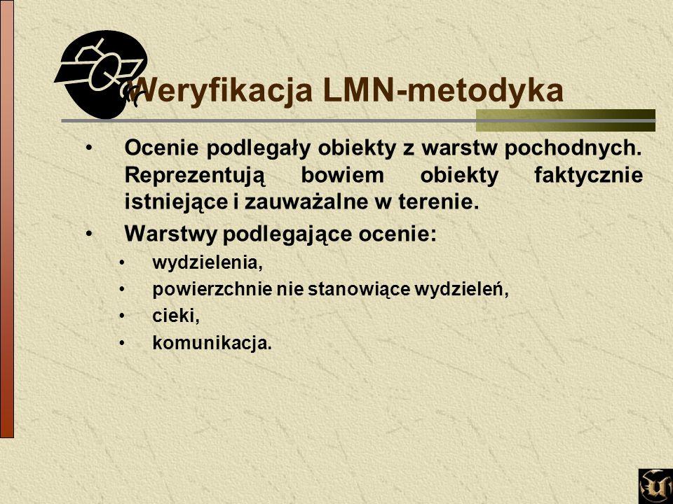 Weryfikacja LMN-metodyka Ocenie podlegały obiekty z warstw pochodnych.