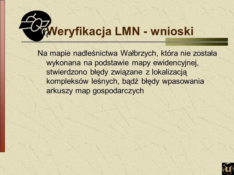 Weryfikacja LMN - wnioski Na mapie nadleśnictwa Wałbrzych, która nie została wykonana na podstawie mapy ewidencyjnej, stwierdzono błędy związane z lokalizacją kompleksów leśnych, bądź błędy wpasowania arkuszy map gospodarczych