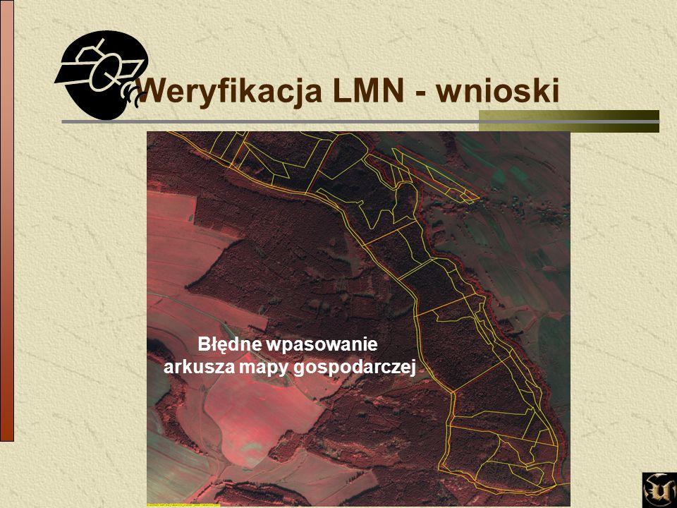 Weryfikacja LMN - wnioski Błędne wpasowanie arkusza mapy gospodarczej