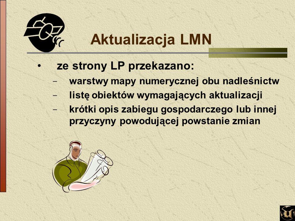 Aktualizacja LMN ze strony LP przekazano: - warstwy mapy numerycznej obu nadleśnictw - listę obiektów wymagających aktualizacji - krótki opis zabiegu gospodarczego lub innej przyczyny powodującej powstanie zmian