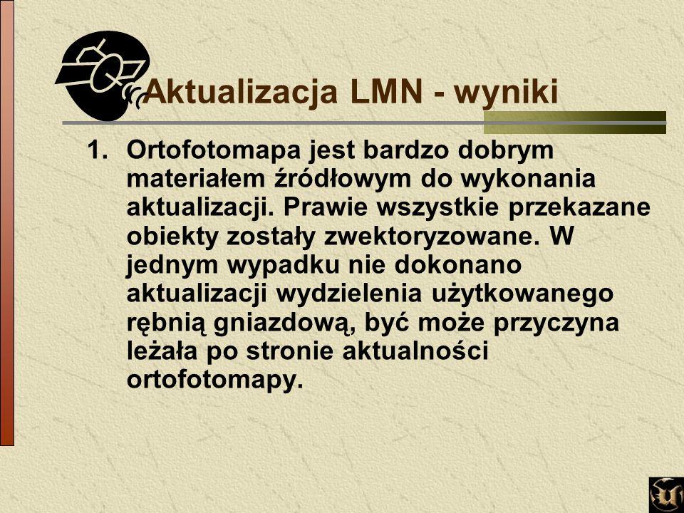 Aktualizacja LMN - wyniki 1.Ortofotomapa jest bardzo dobrym materiałem źródłowym do wykonania aktualizacji.