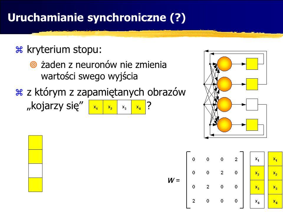 """Uruchamianie synchroniczne (?)  kryterium stopu:  żaden z neuronów nie zmienia wartości swego wyjścia  z którym z zapamiętanych obrazów """"kojarzy si"""