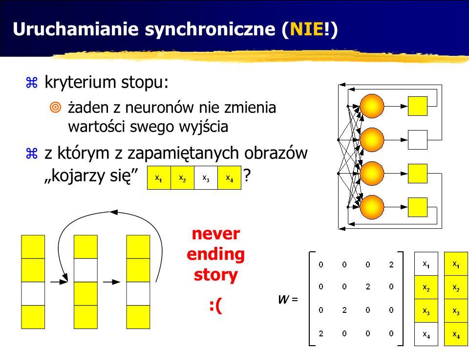 """Uruchamianie synchroniczne (NIE!)  kryterium stopu:  żaden z neuronów nie zmienia wartości swego wyjścia  z którym z zapamiętanych obrazów """"kojarzy"""