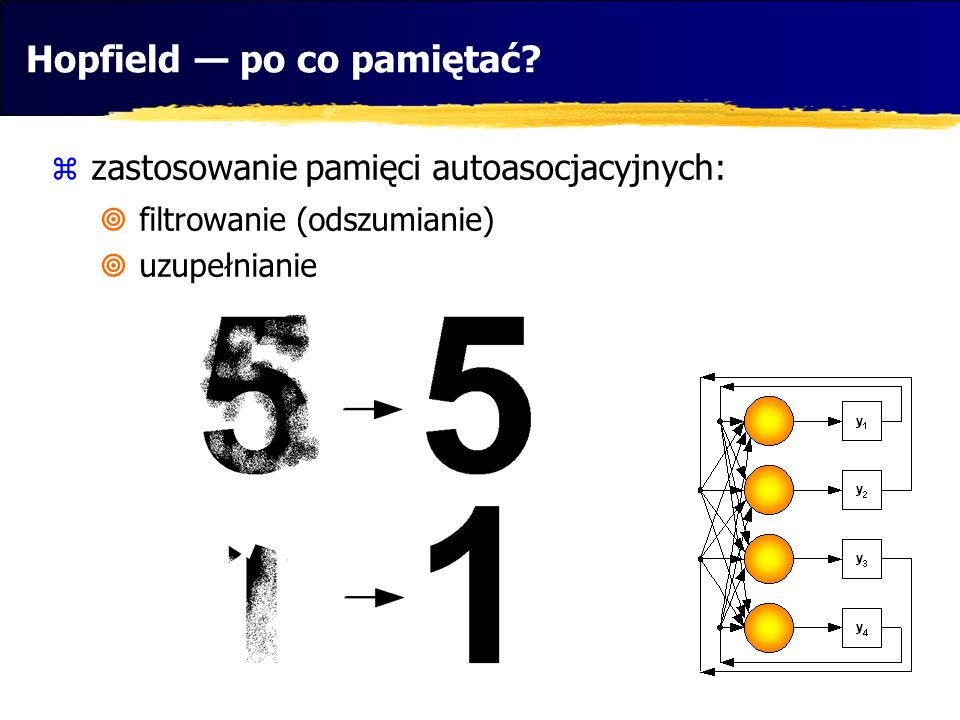 Hopfield — po co pamiętać?  zastosowanie pamięci autoasocjacyjnych:  filtrowanie (odszumianie)  uzupełnianie