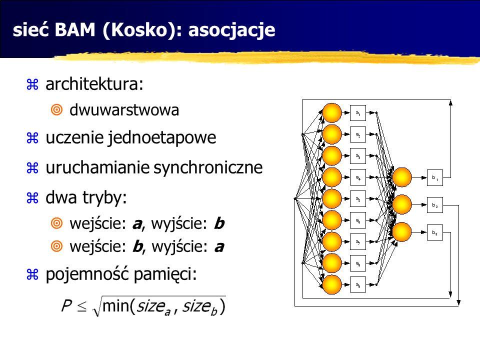 sieć BAM (Kosko): asocjacje  architektura:  dwuwarstwowa  uczenie jednoetapowe  uruchamianie synchroniczne  dwa tryby:  wejście: a, wyjście: b 