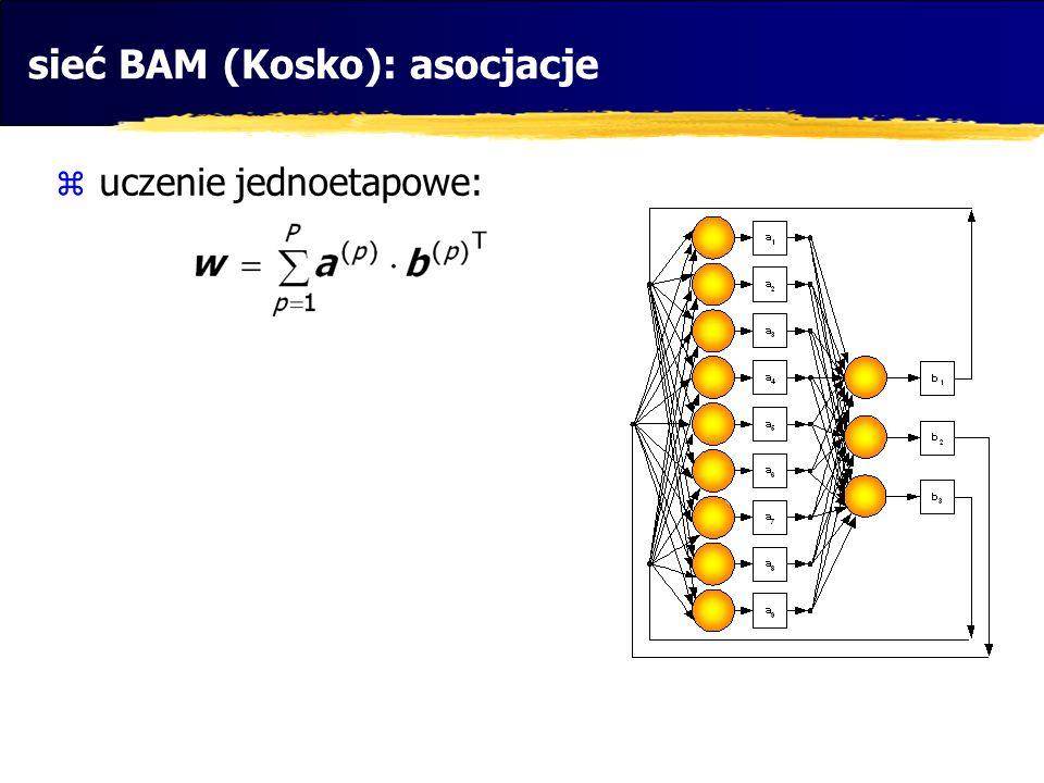 sieć BAM (Kosko): asocjacje  uczenie jednoetapowe: