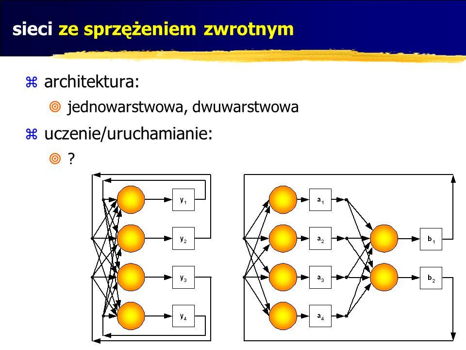 sieci ze sprzężeniem zwrotnym  architektura:  jednowarstwowa, dwuwarstwowa  uczenie/uruchamianie:  ?