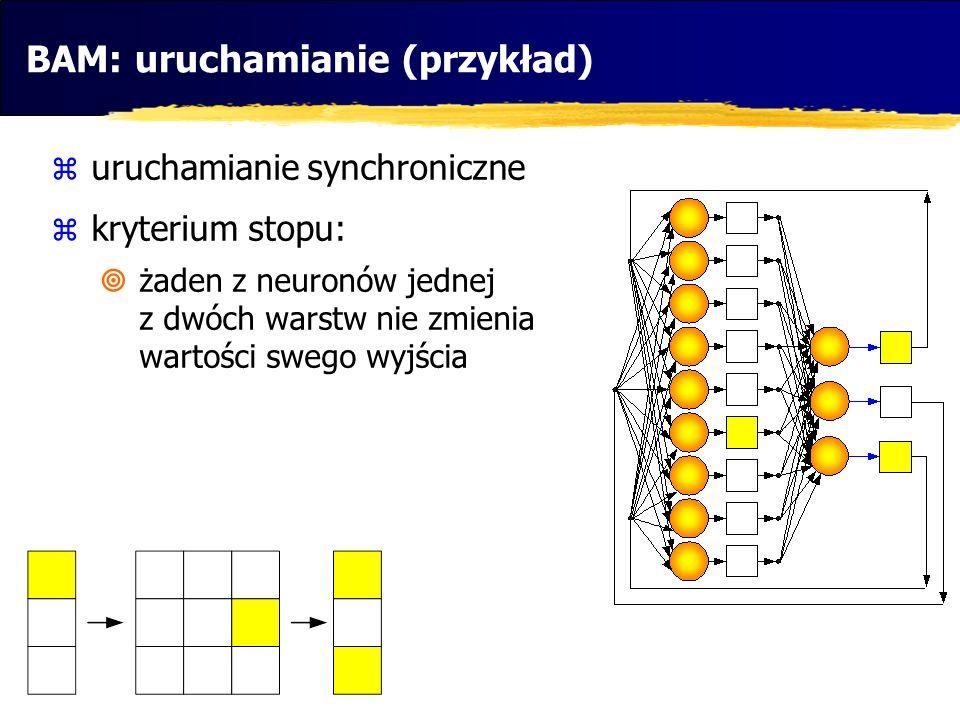 BAM: uruchamianie (przykład)  uruchamianie synchroniczne  kryterium stopu:  żaden z neuronów jednej z dwóch warstw nie zmienia wartości swego wyjśc