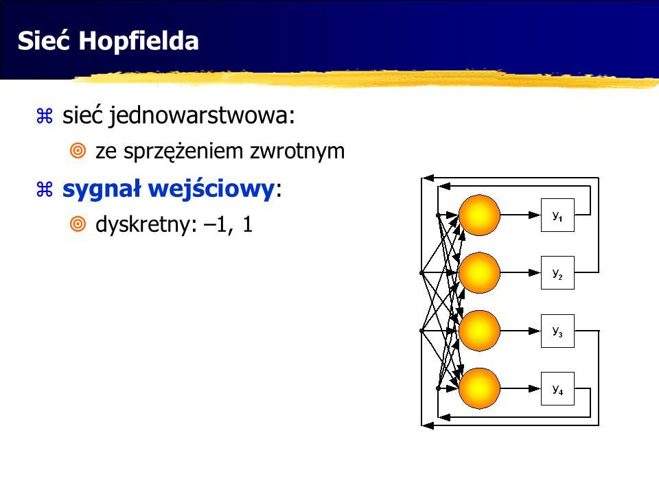 Sieć Hopfielda  sieć jednowarstwowa:  ze sprzężeniem zwrotnym  sygnał wejściowy:  dyskretny: –1, 1  funkcja aktywacji: