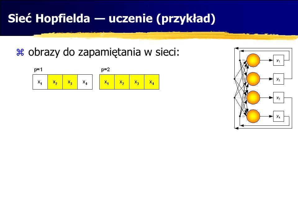 Sieć Hopfielda — uczenie (przykład)  obrazy do zapamiętania w sieci: