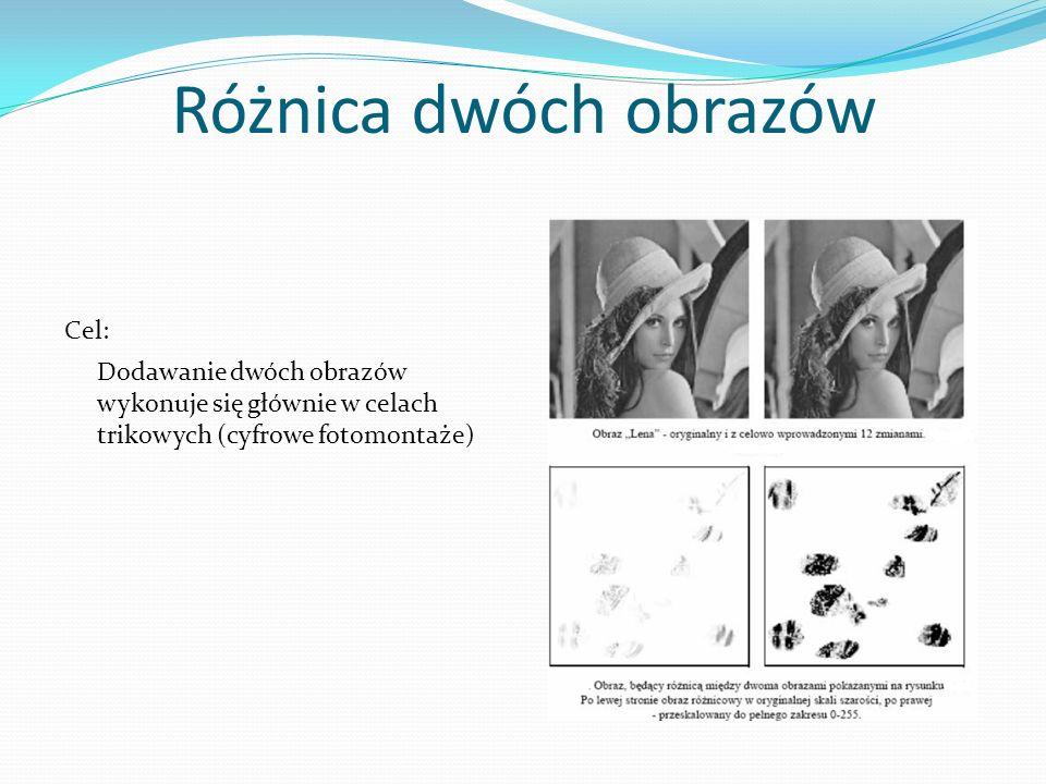 Różnica dwóch obrazów Dodawanie dwóch obrazów wykonuje się głównie w celach trikowych (cyfrowe fotomontaże) Cel: