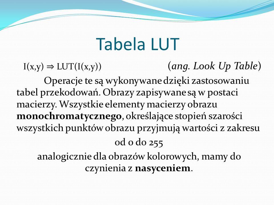 Tabela LUT (ang. Look Up Table) Operacje te są wykonywane dzięki zastosowaniu tabel przekodowań.