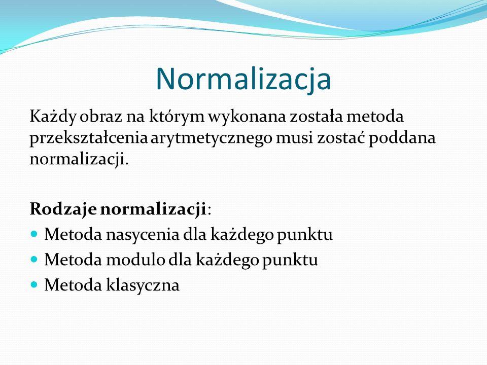 Normalizacja Każdy obraz na którym wykonana została metoda przekształcenia arytmetycznego musi zostać poddana normalizacji.