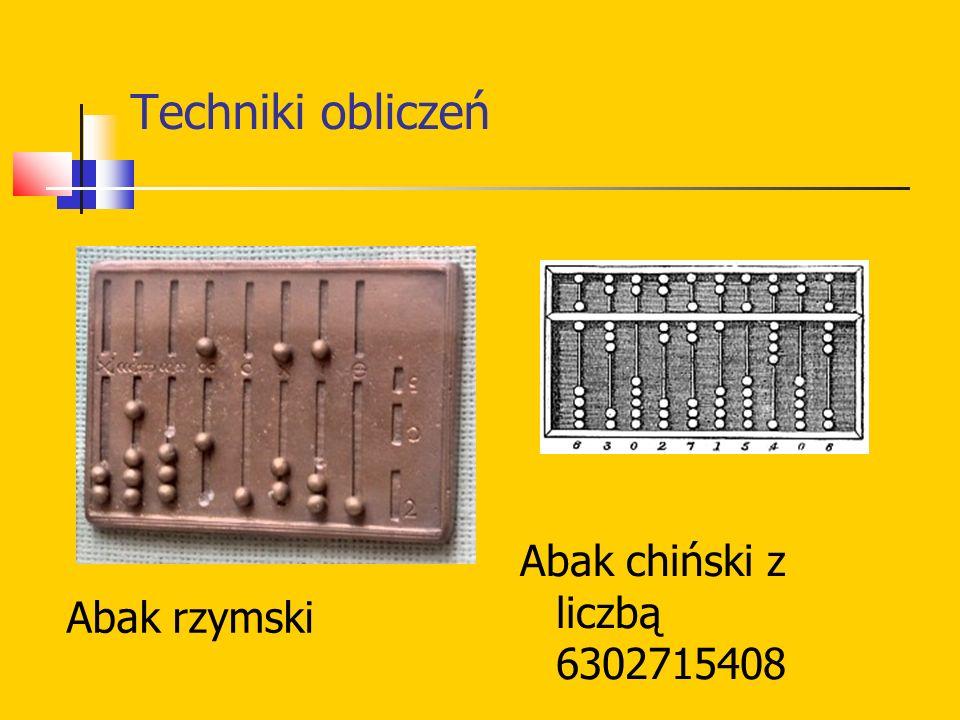 Techniki obliczeń Abak rzymski Abak chiński z liczbą 6302715408
