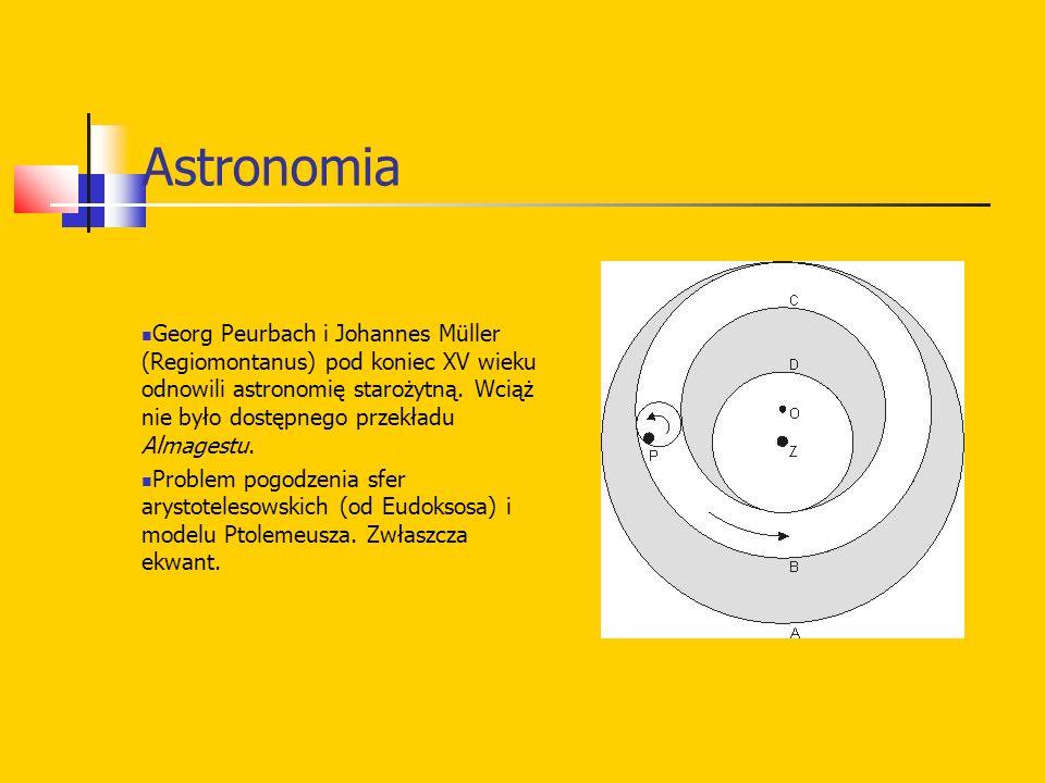 Astronomia Georg Peurbach i Johannes Müller (Regiomontanus) pod koniec XV wieku odnowili astronomię starożytną.