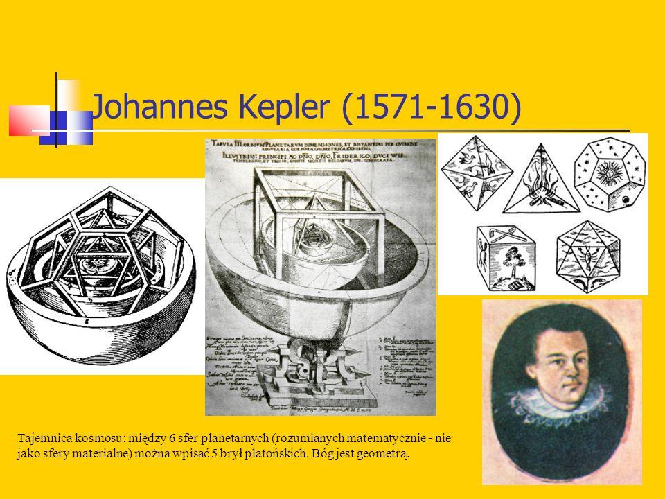 Johannes Kepler (1571-1630) Tajemnica kosmosu: między 6 sfer planetarnych (rozumianych matematycznie - nie jako sfery materialne) można wpisać 5 brył platońskich.