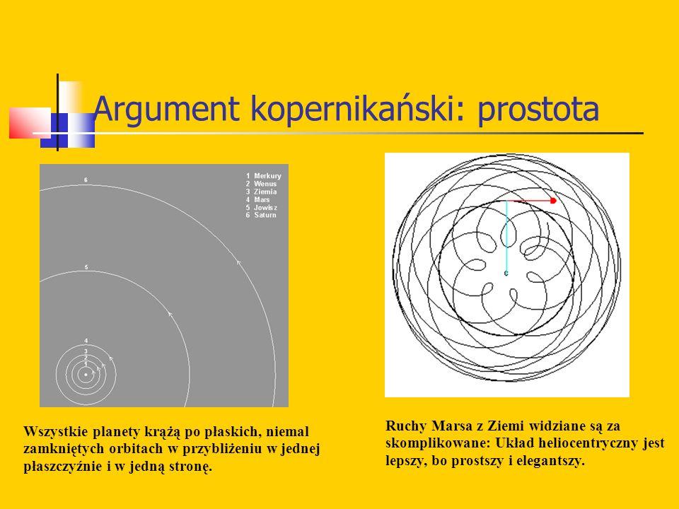 Argument kopernikański: prostota Wszystkie planety krążą po płaskich, niemal zamkniętych orbitach w przybliżeniu w jednej płaszczyźnie i w jedną stronę.