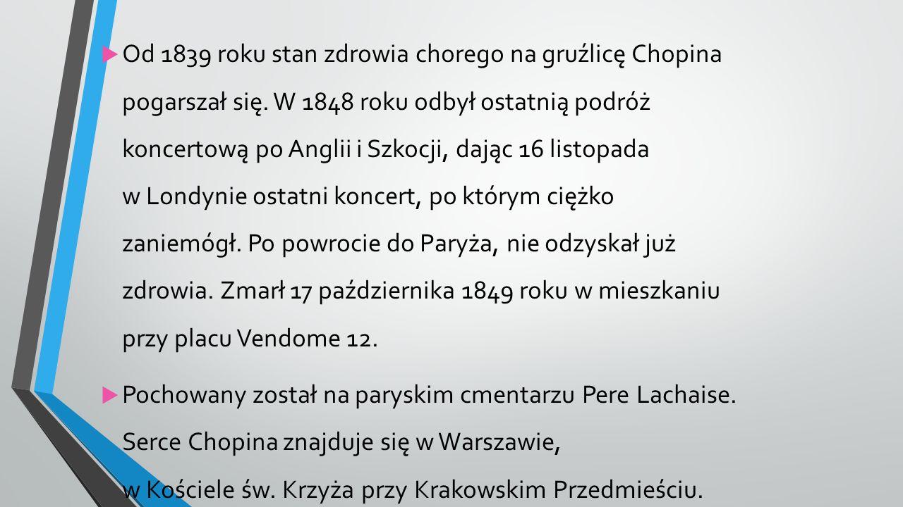  Od 1839 roku stan zdrowia chorego na gruźlicę Chopina pogarszał się.
