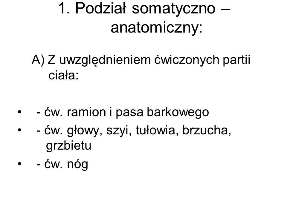 1. Podział somatyczno – anatomiczny: A) Z uwzględnieniem ćwiczonych partii ciała: - ćw. ramion i pasa barkowego - ćw. głowy, szyi, tułowia, brzucha, g