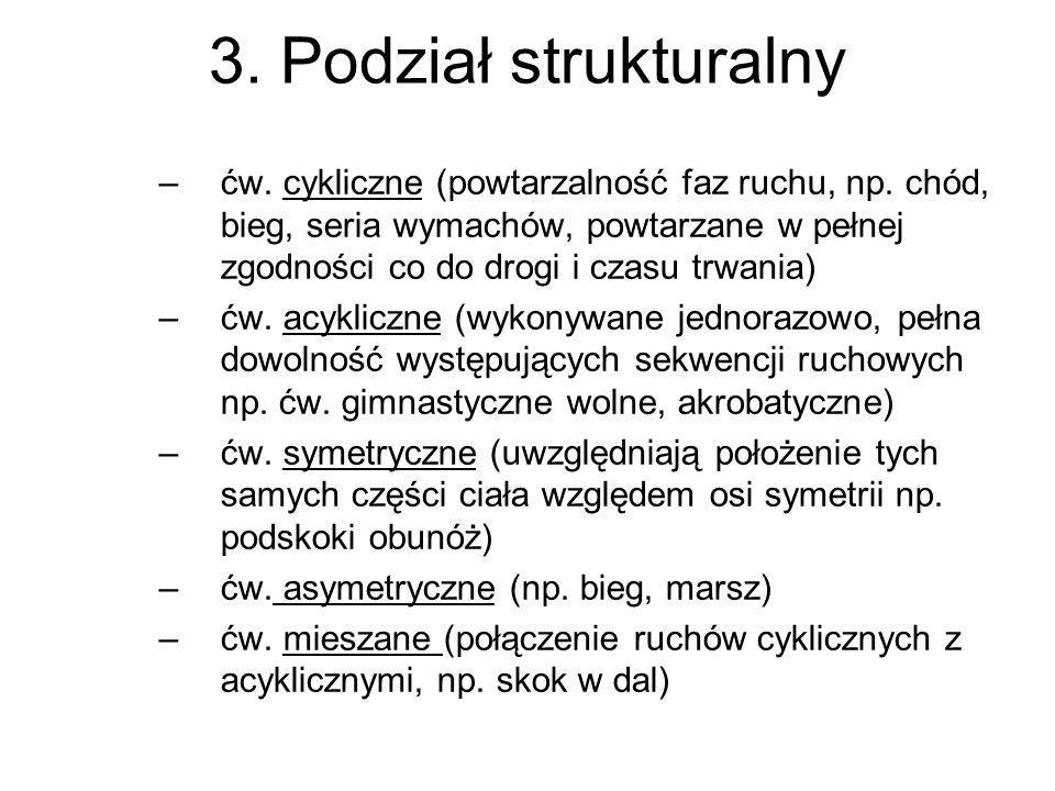 3. Podział strukturalny –ćw. cykliczne (powtarzalność faz ruchu, np. chód, bieg, seria wymachów, powtarzane w pełnej zgodności co do drogi i czasu trw