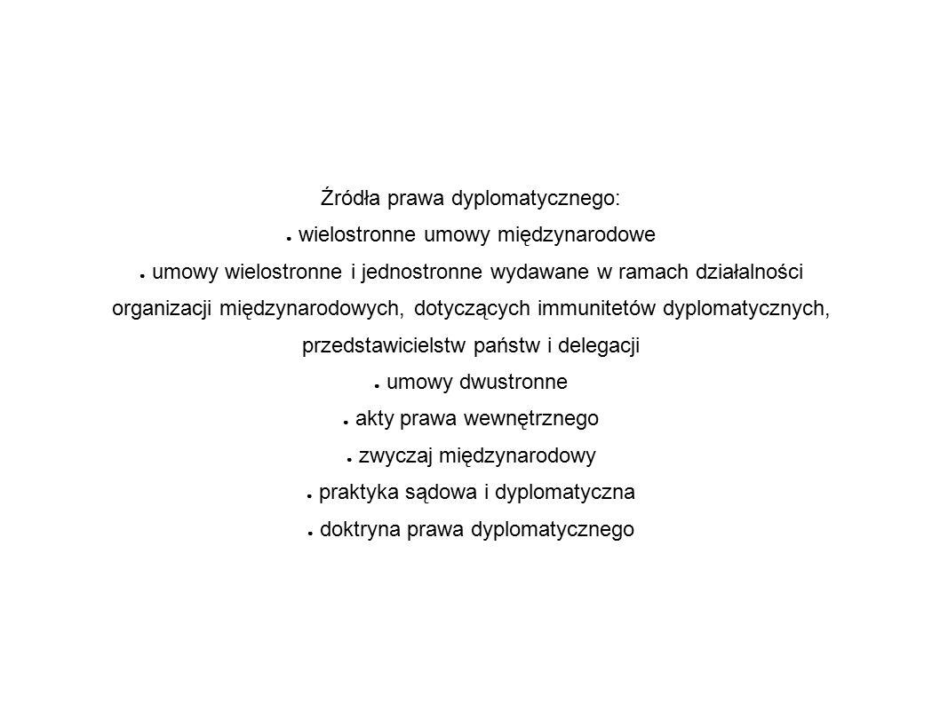 Źródła prawa dyplomatycznego: ● wielostronne umowy międzynarodowe ● umowy wielostronne i jednostronne wydawane w ramach działalności organizacji międzynarodowych, dotyczących immunitetów dyplomatycznych, przedstawicielstw państw i delegacji ● umowy dwustronne ● akty prawa wewnętrznego ● zwyczaj międzynarodowy ● praktyka sądowa i dyplomatyczna ● doktryna prawa dyplomatycznego