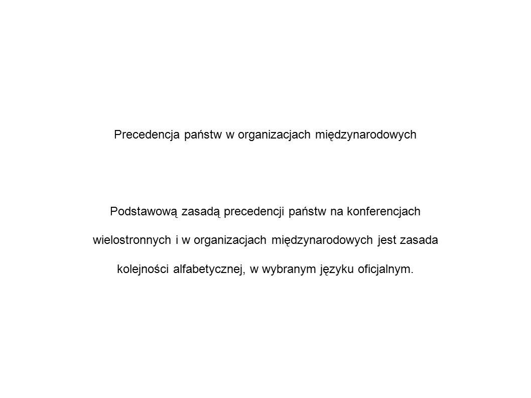 Precedencja państw w organizacjach międzynarodowych Podstawową zasadą precedencji państw na konferencjach wielostronnych i w organizacjach międzynarodowych jest zasada kolejności alfabetycznej, w wybranym języku oficjalnym.