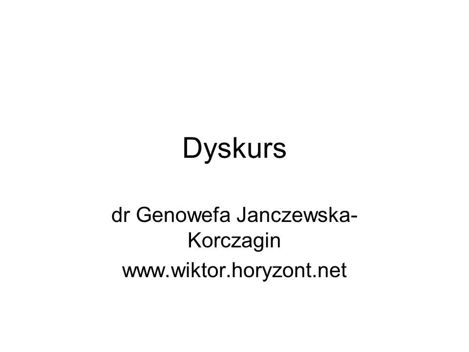 Dyskurs dr Genowefa Janczewska- Korczagin www.wiktor.horyzont.net