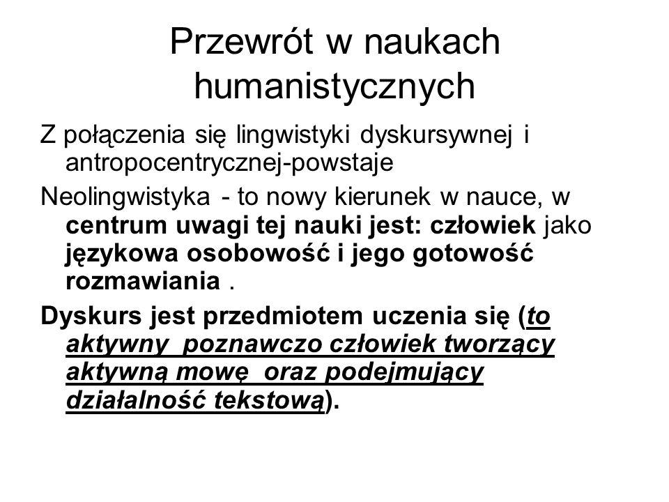 Przewrót w naukach humanistycznych Z połączenia się lingwistyki dyskursywnej i antropocentrycznej-powstaje Neolingwistyka - to nowy kierunek w nauce, w centrum uwagi tej nauki jest: człowiek jako językowa osobowość i jego gotowość rozmawiania.