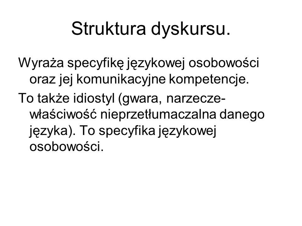 Struktura dyskursu. Wyraża specyfikę językowej osobowości oraz jej komunikacyjne kompetencje. To także idiostyl (gwara, narzecze- właściwość nieprzetł